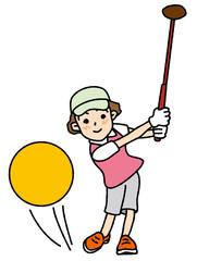 パークゴルフする女性