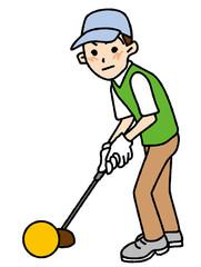 パークゴルフする男性