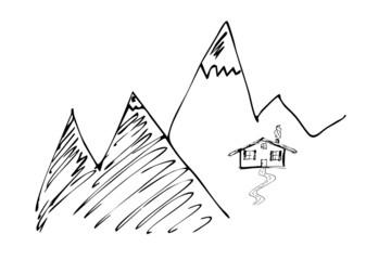 Berge mit Almhütte, abstrakt