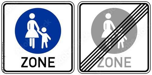 Verkehrsschilder - Fußgängerbereich Beginn, Ende
