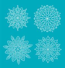 Four unique snowflakes