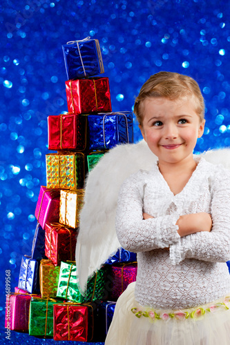 Christmas, Angel - lovely little girl with Christmas gifts