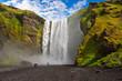 waterfall iceland sun