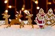 Christmas setting - gingerbread deers and santa