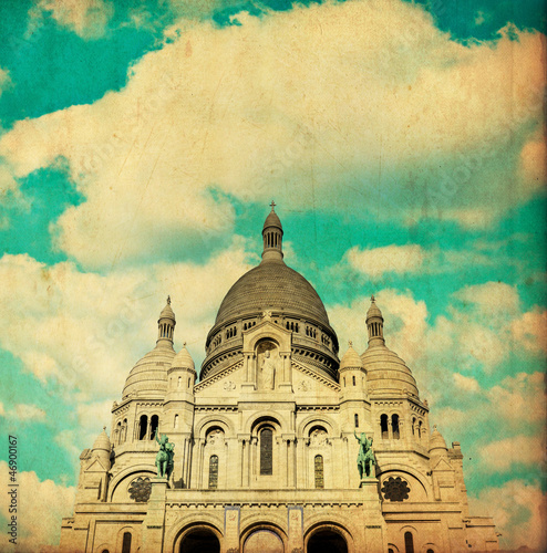 Vintage image of Sacre coeur Cathedral Paris - France
