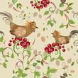 Texture seamless bird branch berry