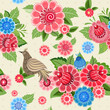 Texture seamless bird and flowers khokhloma