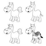 illustration of Cartoon horse outline set Vector