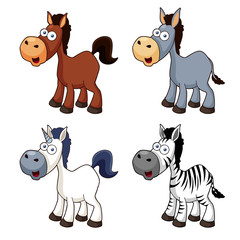illustration of Cartoon horse set Vector