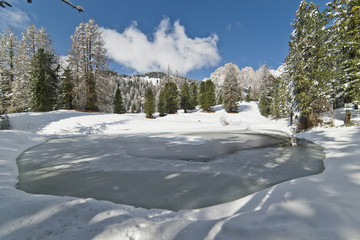 Frozen Pond in the Dolomites