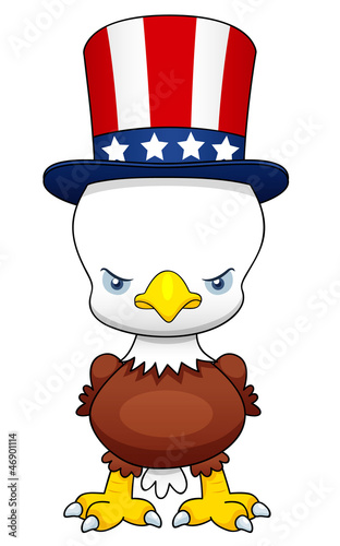 illustration of Cartoon American patriotic eagle