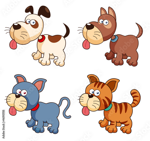 illustration of cartoon dogs and cats