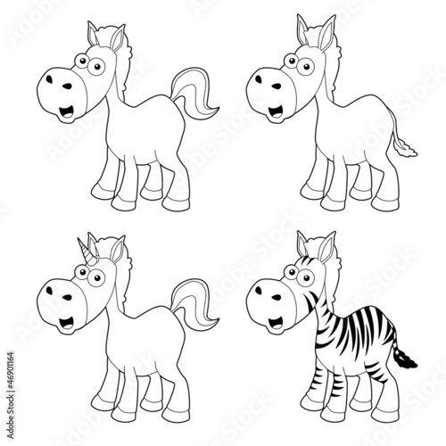 illustration of Cartoon horse outline set Vector