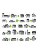 realistic vector buildings, houses