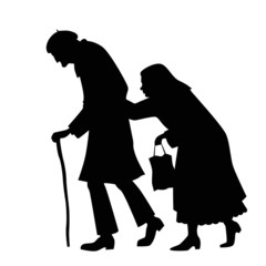 Silhouette of couple walking old man and an old woman