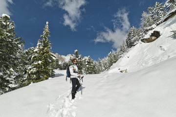 Girl loves Snow Climbing in the Dolomites
