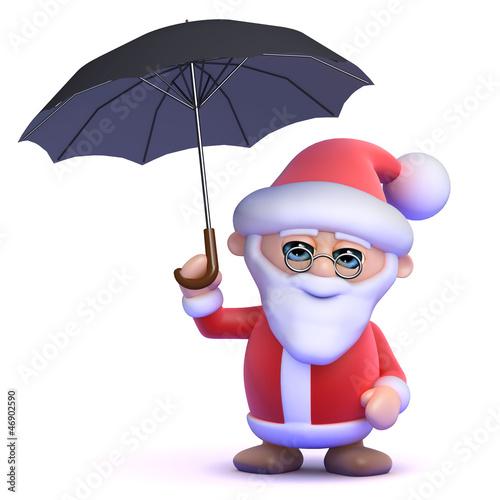 Santa with umbrella