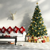 Fototapety Decorated Christmas tree with gifts, sofa, table, interior