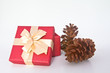 Christmas gift box and pine cones over white background.