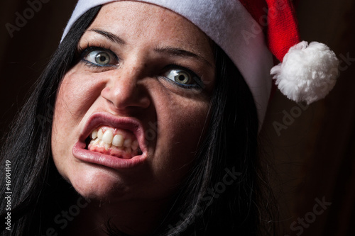 Bad Woman with Santa Hat