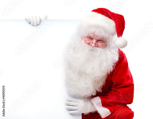 Santa Claus holding Banner with Space for Your Text