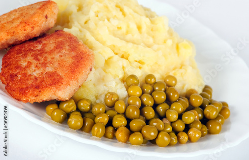 Meat cutlet with potato garnish