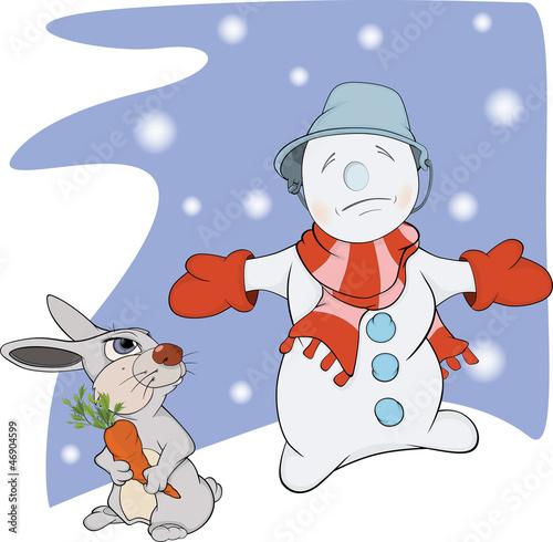 Snowball, rabbit and a carrot. Cartoon