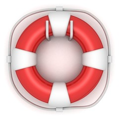 Red lifebuoy on white wall
