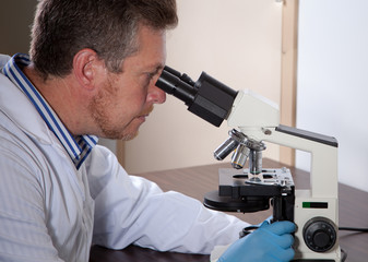 Lab scientist looks into microscope