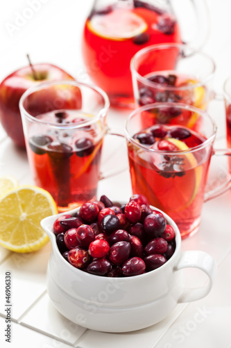 Cranberries with hot punch for winter and Christmas