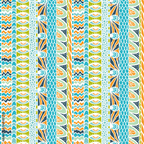 Colorful ethnicity ornament, vector seamless pattern. - 46907325