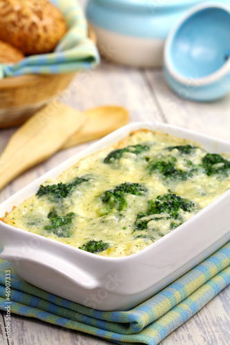 Broccoli, baked with cheese and egg
