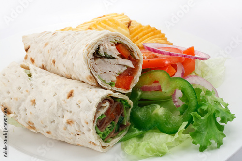 sliced wraps and salad