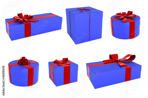 Set of gift boxes with beautiful ribbons and bows