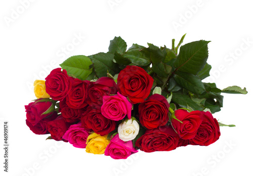 bouquet of multicolored roses isolated on white background