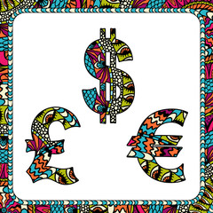 Dollars, euro and pound with ethnic motifs.