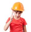 Girl in a protective helmet