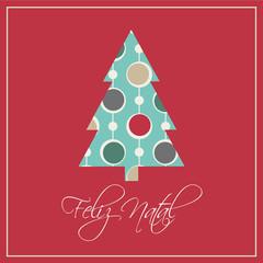 Cartão de Natal, Árvore e bolas de Natal