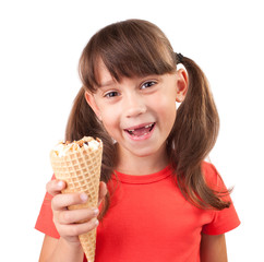 Little girl with ice cream in hand