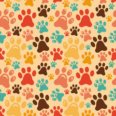 Vector seamless pattern with animal paws