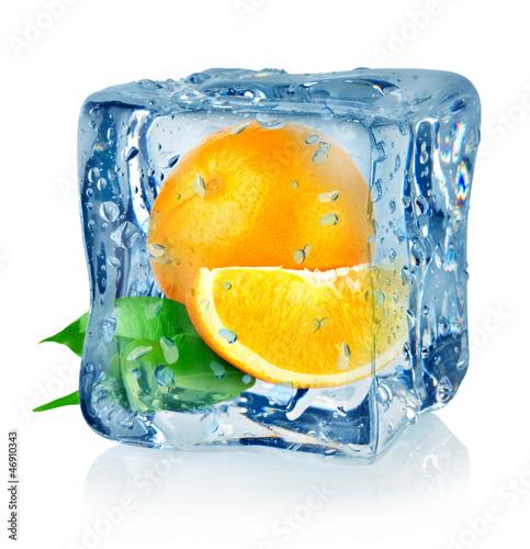 Ice cube and orange - 46910343