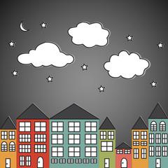 Small town at night
