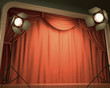Old Stage. Your text in the center of the curtain.