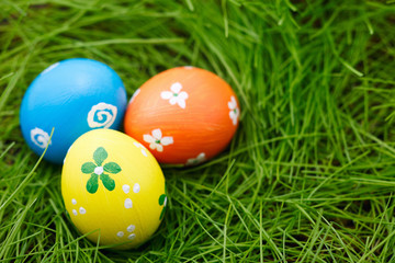 Easter eggs on a grass