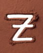 Letter Z made of cocoa powder