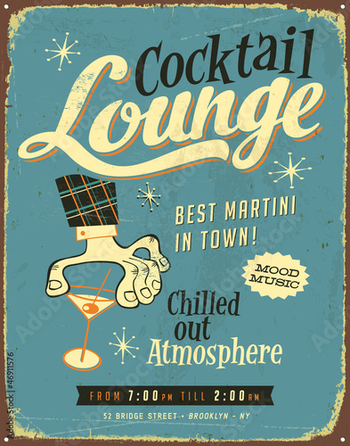 Vintage Metal Sign Retro Cocktail Lounge