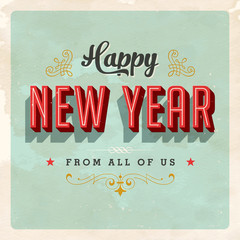 Vintage New Year Card - Grunge effects can be easily removed