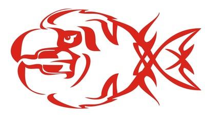 Tribal fish flame symbol