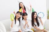 Beautiful asian women making a little party