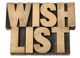 wish list in wood type
